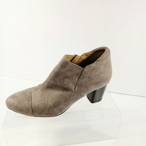 Naturalizer Gray Faux Suede Ankle Zip Booties 6.5